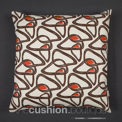 Organic Cotton abstract pattern in chocolate/orange on cream
