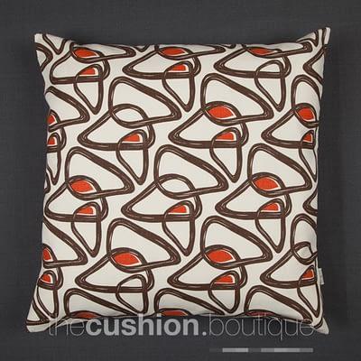 Organic Cotton abstract pattern in chocolate/orange on cream