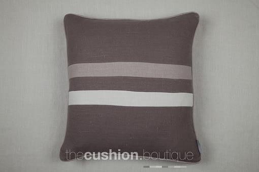 elegant stonewashed linen cushion with 2 horizontal stripes in subtle grey hues
