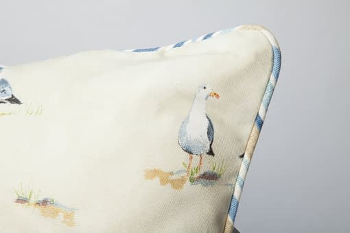 Piping detail on Water's Edge seagull cushion