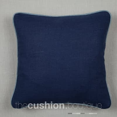 Classically elegant French Navy linen handmade cushion with blue piping detail