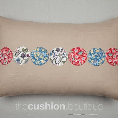 Liberty print circles on beige linen handmade cushion