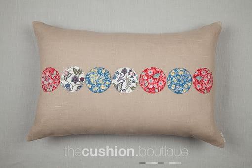 Liberty print circles on beige linen handmade cushion