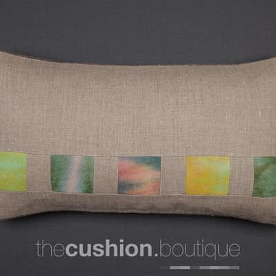 100% Linen handmade cushion with subtle patchwork felt tiles